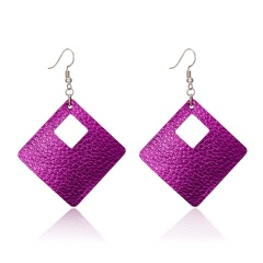 geometric square hollow leather earrings Leather Earrings 1