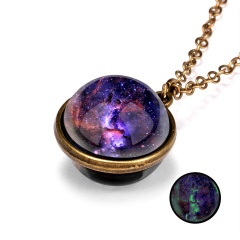 Galaxy Universe Glass Ball Pendant Glow in the Dark Necklace Purple