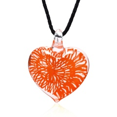 Transparent heart-shaped spiral pattern glass necklace Red