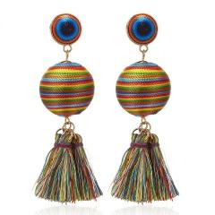 Boho Long Tassel Ball Earrings colorful