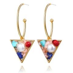 fashion triangle shell pearl earrings pink