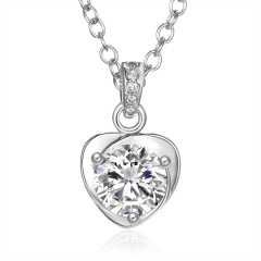 Simple Geometric Heart Zircon Pendant Necklace Heart