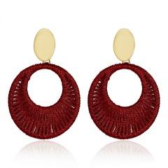 Geometric Circle Hand-woven Earrings Red