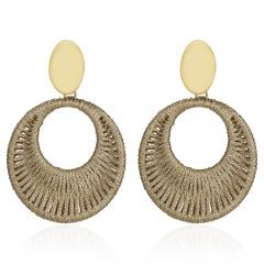 Geometric Circle Hand-woven Earrings Gold