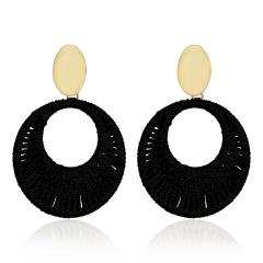 Geometric Circle Hand-woven Earrings Black
