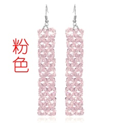 Geometric Crystal Handmade Earrings Pink