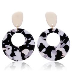 Geometric Round Acetate Earrings White Black