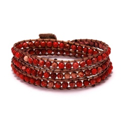 Three Layers Seven Chakras Hand Woven Slipknot Adjustable Bracelet red