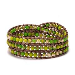 Three Layers Seven Chakras Hand Woven Slipknot Adjustable Bracelet green