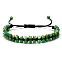 Crystal 7 Chakra Adjustable Bracelet Green stone