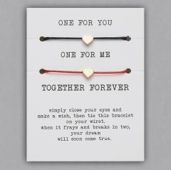 paper card braided adjustable bracelet set Love Black & Red