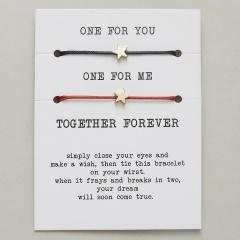 paper card braided adjustable bracelet set Star Black & Red