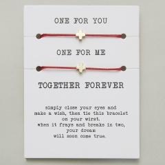 paper card braided adjustable bracelet set Cross Red