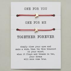 paper card braided adjustable bracelet set Butterfly Red