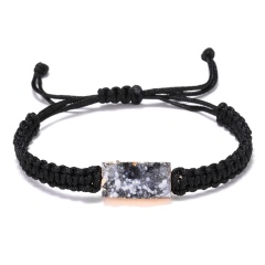 5 Colors Adjustable Rope Bracelet Geometric Square Druzy Stone Bracelet Faux Resin Stone Bracelet Jewelry for Women Girl Gift BLACK