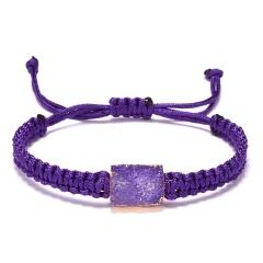 Colorful Resin Natural Stone Square Pendant Bracelet Hand Woven Adjustable Rope Charm Bracelets Women Men Fashion Jewelry Gift PURPLE