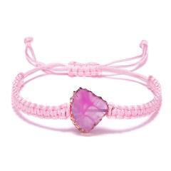 Fan-Shaped Natural Stone Drusy Charm Bracelets For Women Men Handmade Elastic Rope Bracelet Wristband Bohemia Jewelry PINK