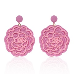 Rose Flower Hand-woven Earrings Pink