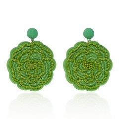 Rose Flower Hand-woven Earrings Green