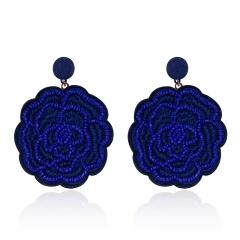 Rose Flower Hand-woven Earrings Deep Blue