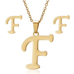 Stainless Steel Letter Necklace Earrings F