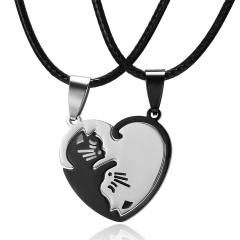 Heart Lover YinYang Cat Black White