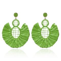 geometric fan-shaped tassel earrings green