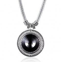 Retro Women Crystal Round Pendant Necklace Bib Statement Choker Jewelry Gift Charm