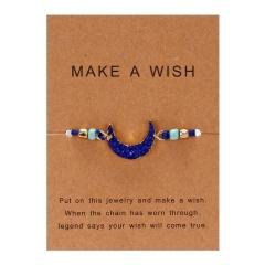 moon hand-woven paper card bracelet dark blue