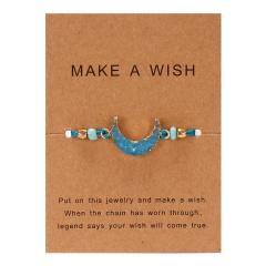 moon hand-woven paper card bracelet light blue