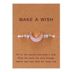moon hand-woven paper card bracelet pink
