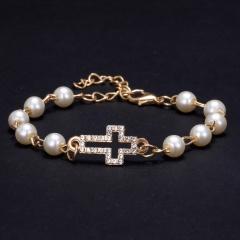 rhinestone pearl bracelet cross