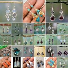 Silver Turquoise Ear Hook Stud Drop Dangle Moonstone Sapphire Earrings Flower