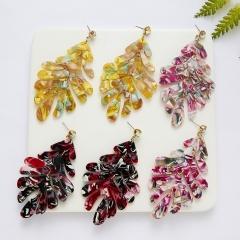 Fashion Women Lady Girls Colorful Acetic Leaf Shape Acrylic Earrings Yellow