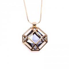 Fashion Korean Square Hollow Sweater Pendant Necklaces Clothing Chain Women Gift Gold