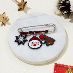 Christmas Elk Bell Snowman Acrylic Brooch Big Pin Drop Cotton Party Xmas Gifts Santa Claus Snowflake