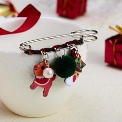 Christmas Elk Bell Snowman Acrylic Brooch Big Pin Drop Cotton Party Xmas Gifts Christmas elk moon