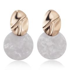 Fashion Round Gold Acrylic Statement Earrings Women Ear Hoop Resin Drop Dangle Jewelry White