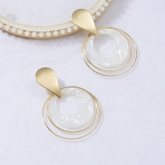 Fashion Multilayer Rings Acrylic Statement Earrings Women Ear Hoop Resin Drop Dangle Jewelry White