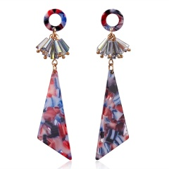 Fashion Long Geometric Acrylic Statement Earrings Women Ear Hoop Resin Drop Dangle Jewelry Colorful