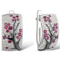 Wintersweet Tree Silver Earrings Ear Clip Women Gift Silver