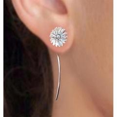 1Pair Vintage Women Silver Flower Earrings Hook Stud Dangle Sunflower