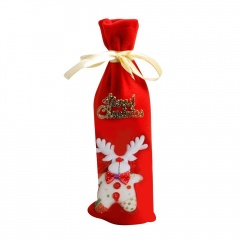 Red Wine Bottle Cover Bags Christmas Elk Xmas Party Table Decorations Sequins Red