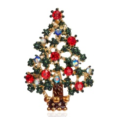Christmas Tree Crystal Enamel Brooch Pin Xmas Jewelry Multi-color