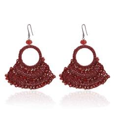 Retro Boho Crystal Geometric Sector Dangle Earrings Ear Hook Women Party Jewelry Red