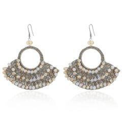 Retro Boho Crystal Geometric Sector Dangle Earrings Ear Hook Women Party Jewelry White