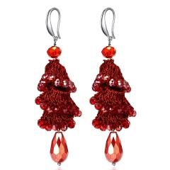 Fashion Crystal Beads Dangle Earrings Boho Long Tassel Women Handmade Ear Hook Red