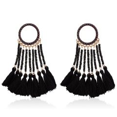 Fashion Geometric Tassel Earrings Dangle Charm Women Elegant Jewelry Black