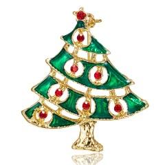 Christmas Tree Crystal Enamel Brooch Pin Xmas Jewelry Green