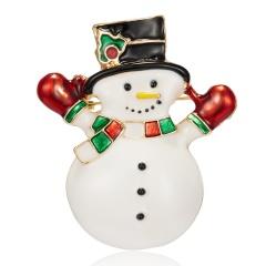 Christmas Snowman Brooch Pin Crystal Santa Claus Xmas Party Gift Gloves Xmas snowman